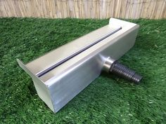 Stainless Steel Water Blade with spout overhang - BSP threaded socket back inlet Supplied with multi step plastic hosetail fitting to suit pond pipe Water Wall Fountain, Water Fountain Design, Water Pond, Outdoor Wall Fountains, Garden Water Fountains, Indoor Fountain, Backyard Pool Designs, Ponds Backyard, Natural Swimming Ponds