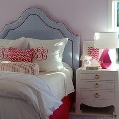 Blue Chevron Headboard with monogrammed pillows, Contemporary, girl's room, Julie Rootes Interiors