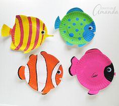 Fun Ocean Kid Crafts for Ocean Theme Week - A Crafty Life Ocean Kids Crafts, Paper Plate Crafts For Kids, Animal Crafts For Kids, Fish Crafts, Crafts For Kids To Make, Projects For Kids, Art Projects, Sea Animal Crafts, Dinosaur Crafts