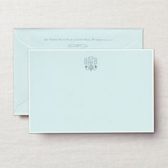 Patisserie Monogram White Bordered Correspondence Card: Charming with a hint of whimsy, this card, in our coveted beach glass hue, is paired with a monogram in French blue ink and a crisp white border. A perfect choice for missives written from the corner café. Correspondence Cards, Fine Paper, Stationery Paper, Personalized Stationery, Hand Engraving, Note Cards, Notes, Invitations, French Blue