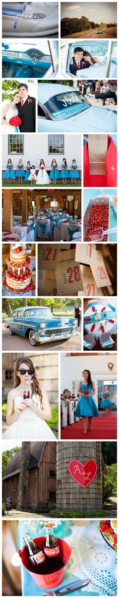 red and aqua wedding / red and teal wedding / retro wedding. I seriously love this idea. I think I may have just found my perfect bridesmaid dresses.... O.o