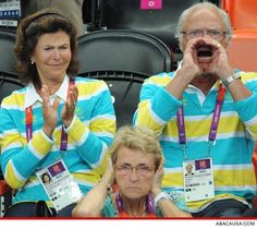 King and Queen of Sweden, cheering their faces off Sweden's Olympic handball match against Denmark. Meanwhile, the woman in the front is not enjoying herself. Hahaha