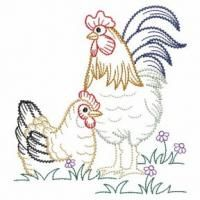Vintage Embroidery Designs Cute cartoon creatures of the wild featured detailed rippled fill stitch. - Add some fun to your kitchen with these colorwork chickens! Border Embroidery, Embroidery Transfers, Learn Embroidery, Machine Embroidery Patterns, Crewel Embroidery, Hand Embroidery Designs, Embroidery Thread, Embroidery Techniques, Vintage Patterns