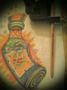 poison  rum  skull  newschool  color  tattoo  flashart f9b65cd69371