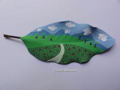 """""""Paisagem - O vale"""" - Folha de magnólia (17 x 6.5 cm) pintura com tinta PVA"""