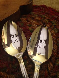 Hand Stamped Silverware, Stamped Silver, Hand Stamped Silver Spoons, Vintage Spoons, Wedding Gift, Bridal Shower Gift, Wedding Shower,