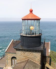 Point Sur Lightstation is a lighthouse at Point Sur, California, 135 miles (217 km) south of San Francisco, on the 361-foot (110 m)-tall rock at the head of the point. It was established in 1889 and is part of Point Sur State Historic Park. The light house is 40 feet (12 m) tall