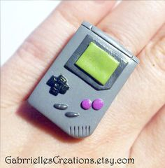 Gameboy Ring - Gamer Geek Gift - Classic Gameboy Jewelry - Miniature Kawaii - Polymer Clay Game Boy - Cute Gamer Ring - Gameboy Jewels 90s on Wanelo
