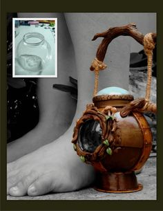 Confessions of a Chronic Crafter: polymer clay. Old jar into seriously cool lantern.