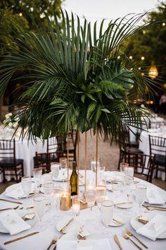 Regal Navy and Gold Wedding at Serra Plaza Tropical Wedding Decor, Palm Wedding, Wedding Table, Floral Wedding, Wedding Flowers, Dream Wedding, Gold Beach Wedding, Tropical Wedding Centerpieces, Exotic Wedding