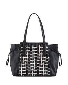 V33G1 French Connection Nadia Two-Tone Tote Bag, Black/White
