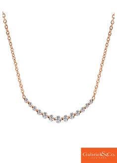 A simple and classic 14k Pink Gold Diamond Necklace by Gabriel and Co. An elegant necklace to go with any wedding dress. It's settle but stunning. Gabriel & Co. has the absolute perfect wedding jewelry for your amazing wedding day.
