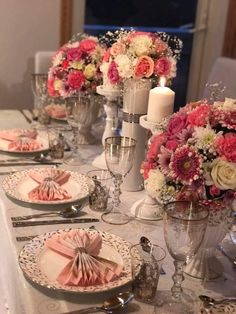 Formal Dinner Arrangement with Pink and Gold Motiff