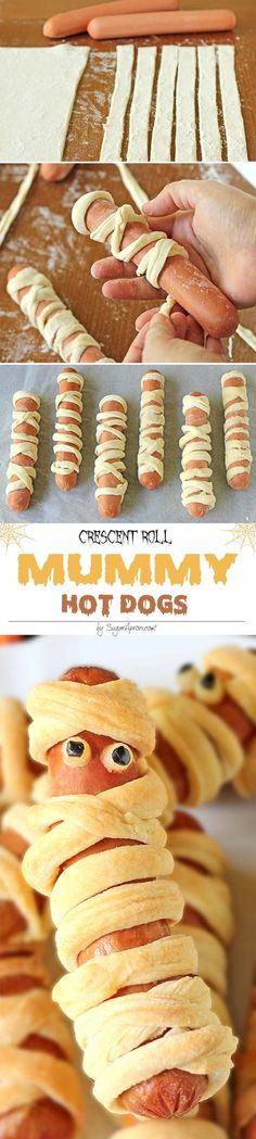 Crescent Roll Mummy Hot Dogs - Aren't they scary sweet? Crescent Roll Mummy Hot Dogs - Aren't they scary sweet? Diy Halloween Party, Halloween Dinner, Halloween Snacks, Hot Dog Recipes, Fall Recipes, Holiday Recipes, Mummy Hot Dogs, Halloween Breakfast, Hallowen Food
