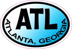 3in x 2in Blue Oval Atlanta Sticker Vinyl Georgia Vehicle Bumper Stickers
