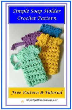 This simple soap holder crochet pattern is designed for a full-size bar of soap; however, smaller pieces of soap can be added to the soap holder as well. Quick Crochet, Crochet Home, Crochet Gifts, Crochet Yarn, Crochet Stitches, Free Crochet, Crochet Patterns, Crochet Flowers, Crochet Ideas