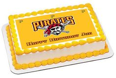 Pittsburgh Pirates Edible Birthday Cake Topper OR Cupcake Topper, Decor