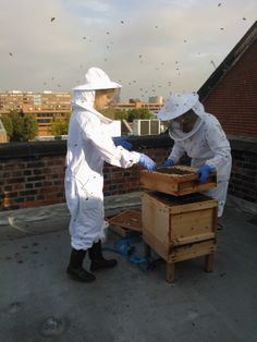 Sally and Sam looking after our bees