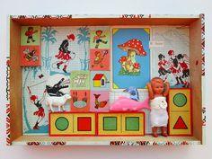 mano kellner, projekt 2013, kunstkiste nr 46, spielwiese Altered Tins, Altered Art, Box Art, Art Boxes, Collage, Box Houses, Small Art, Shadow Box, Mixed Media Art