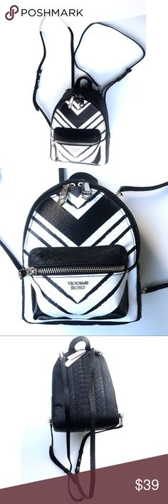 New Victoria's Secret backpack ♠️ Brand new Victoria's Secret backpack. Small backpack with black and white design. The item has zipper closure and removable straps. Very cute and spacious! Victoria's Secret Bags Backpacks