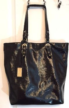 Badgley Mischka Black Patent Leather Purse, Handbag  #BadgleyMischka #HandbagShoulderBag