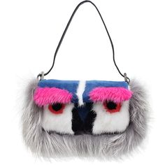FENDI Mini Monster Baguette Bag ($3,115) ❤ liked on Polyvore featuring bags, handbags, shoulder bags, purses, blue, hand bags, fendi handbags, fendi purses, blue shoulder bag and man shoulder bag