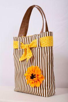 "canta "" tote bag on etsy felt sunflower. white and brown tote bag."", ""Striped bag w/yellow felt flower"", ""Tote Bag Burgundy Loom Knit Bag by sparklek Diy Handbag, Diy Purse, Patchwork Bags, Quilted Bag, Striped Tote Bags, Handmade Purses, Handmade Fabric Bags, Handmade Bracelets, Denim Bag"