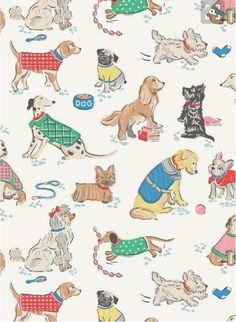 love wallpaper for mobileThere's a four-legged friend for everyone in our latest playful pup print – we've hand-drawn some of the UK's most popular breeds Cath Kidston Wallpaper, Dog Illustration, Vintage Dog, Dog Pattern, Dog Art, Pattern Wallpaper, Cute Wallpapers, Cute Animals, Surface Design