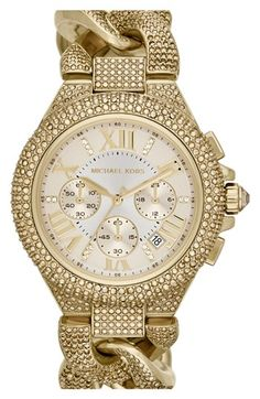 Love!!! Michael Kors 'Camille' Crystal Encrusted Chain Link Watch, 44mm available at #Nordstrom