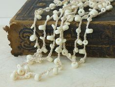 Long Necklace Off White Boho Jewelry Necklace  by beadedwire