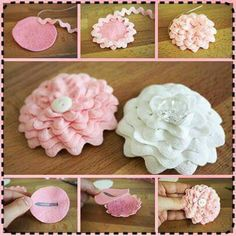 Dis was e. - Dis was e. Dis was e. Satin Flowers, Felt Flowers, Diy Flowers, Fabric Flowers, Paper Flowers, Fabric Flower Headbands, Ribbon Flower, Ribbon Crafts, Flower Crafts