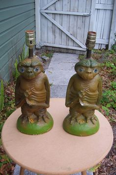Pair of E.T. The ExtraTerrestrial Chalkware Table Lamps