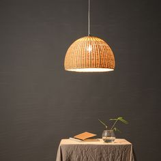 large bamboo wood hanging lamp