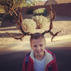 Antlers.. hopefully my strong willed four year old will let me do this on Crazy Hair day
