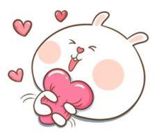 TuaGom : Puffy Rabbit by Tora Jung Cute Cartoon Images, Cute Love Cartoons, Cute Love Gif, Cute Cat Gif, Cute Bear Drawings, Kawaii Drawings, Cute Emoji Wallpaper, Girl Drawing Sketches, Love Stickers