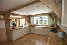 Gallery of Oak Framed Buildings - Living Oak Open Plan Kitchen Living Room, Barn Kitchen, Country Kitchen, New Kitchen, Kitchen Decor, Kitchen Design, Cottage Kitchens, Home Kitchens, Oak Framed Buildings