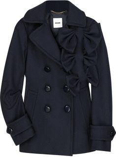 MOSCHINO Bow-embellished Wool Peacoat - Lyst