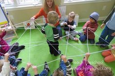 Very Busy Spiders... indoor busy activity... make a giant yarn spiderweb to crawl in/under/over