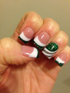 My wedding nails. Green and white fight fight fight!! Go State!! Michigan State Spartans!! Thanks @katiewadkins1