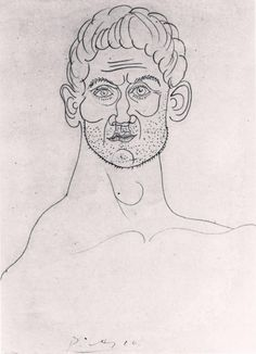 Picasso, Head of Man pencil x 7 ins Picasso Sketches, Picasso Drawing, Picasso Paintings, Painting & Drawing, Pablo Picasso, Figure Drawing, Line Drawing, Les Oeuvres, Spanish