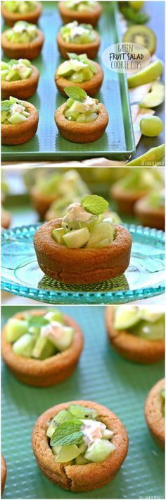 Green Fruit Salad Cookie Cups made with a sugar cookie crust! So fun for Saint Patrick's Day! Tasty and healthy recipe kids and adults will both love!