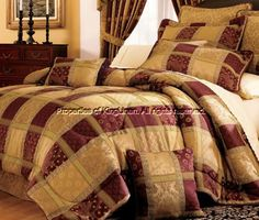 7 Piece Maroon Jewel Patchwork Cal King Comforter Set - A Luxury Bed - Silk Sheets Bedspreads Luxury Bedding Red Comforter Sets, Gold Comforter, Queen Comforter Sets, Floral Comforter, Burgundy Bedding, Colchas Quilt, Bed In A Bag, Bed Sets, King Beds