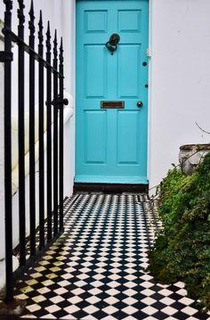 Turquoise door and fab walkway