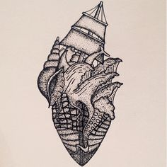 Nautical dot work tattoo design.