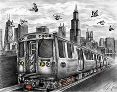 Pencil Drawing- Chicago commuter train and skyline. Description from etsy.com. I searched for this on bing.com/images