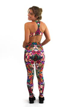 SHAMA JADE LUXURY JUMPSUIT EVOKE: CALYPSO PRINT: Featuring a high front and racer back to act like a sports bra and give you the support you need for even the toughest of workouts and BONUS it looks like two pieces from the back giving that extra wow factor when you turn around.