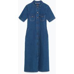 Zara Denim Dress (230 MYR) ❤ liked on Polyvore