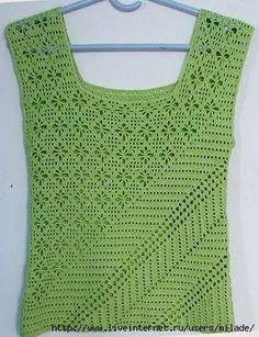 Ideas para el hogar: Musculosa en crochet dos estilos muy diferentes