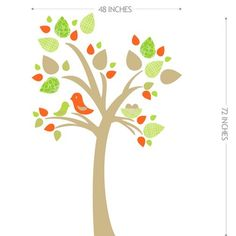 Image of Tree with Bird Nest Fabric Wall Sticker Decal - Reusable