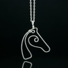 Sterling silver horse pendant necklace handmade by AnniDesignsllc, $27.00